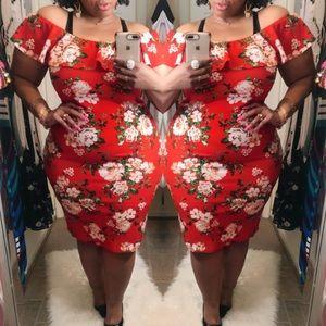 Red Floral Off the Shoulder Dress